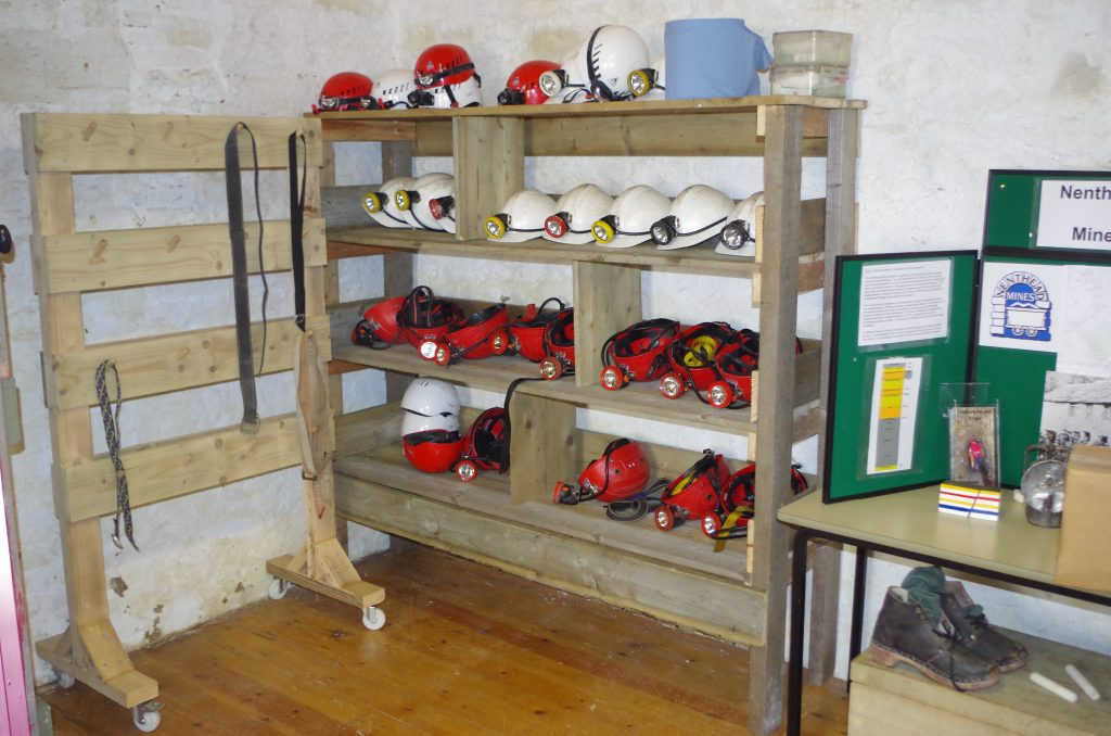 Lamp and helmet rack