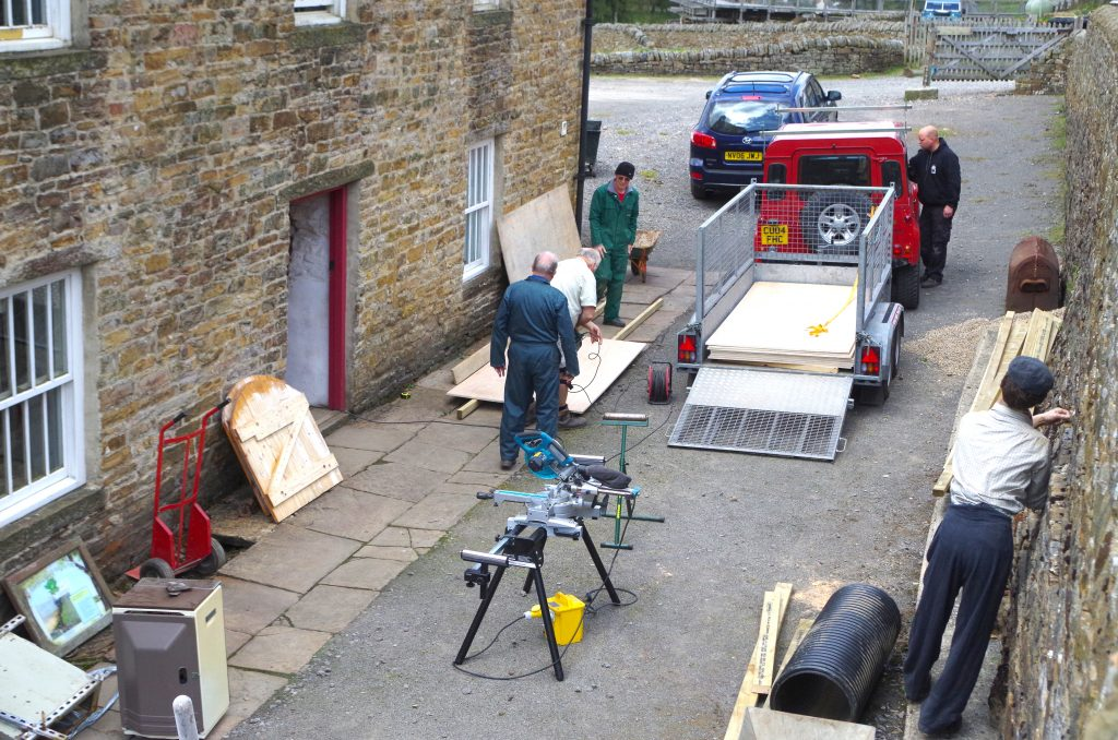 Sawing boards. Colin, Allan and Alec